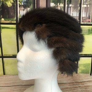 Vintage John Wanamaker Knit Mink Hat Cap